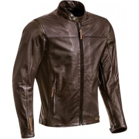 Chaqueta piel perforada IXON CRANK AIR marron