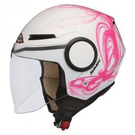 Casco abierto SMK streem fantasy blanco rosa