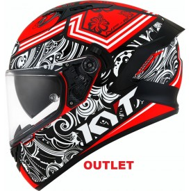 Casco outlet KYT NF-R STEEL FLOWER Rojo