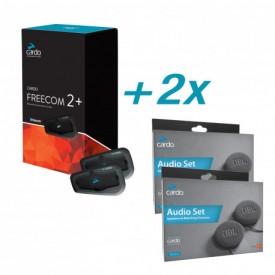 Pack Intercomunicadores CARDO FREECOM 2 plus DUO + altavoces JBL 45mm