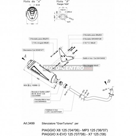 Silencioso LEOVINCE PIAGGIO X-EVO 125 GRANTURISMO